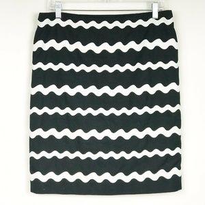 Carlisle Pencil Mini Skirt Zigzag Back Zip Slit
